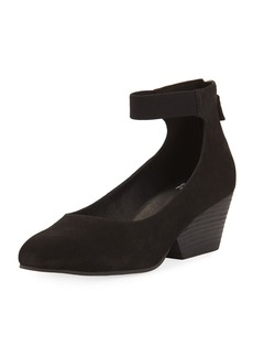 Eileen Fisher Liza Suede Ankle-Wrap Wedge Pump