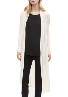 Eileen Fisher Long Organic Linen Blend Crepe Cardigan (Regular & Petite)