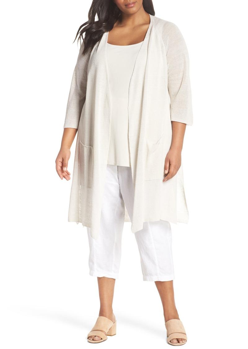 337bc5a96a2 Eileen Fisher Eileen Fisher Long Organic Linen Blend Kimono Cardigan ...