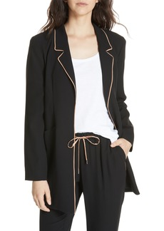 Eileen Fisher Long Piped Trim Blazer (Regular & Petite)