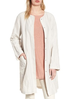 Eileen Fisher Long Rumpled Organic Cotton Blend Jacket