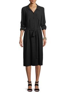 Eileen Fisher Long-Sleeve Belted Silk Shirtdress