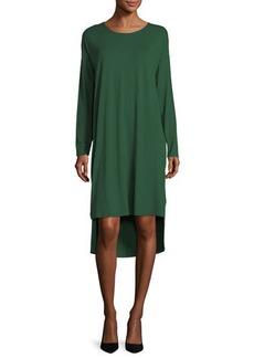 Eileen Fisher Long-Sleeve Lightweight Viscose Jersey Shift Dress