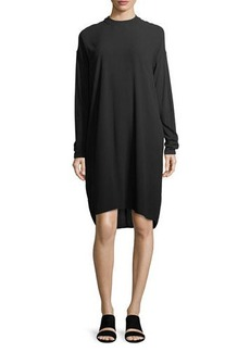 Eileen Fisher Long-Sleeve Mock-Neck Silk Georgette Crepe Shift Dress