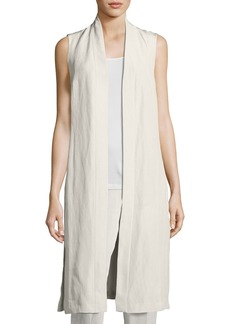 Eileen Fisher Long Sleeveless Organic Linen/Silk Kimono Vest