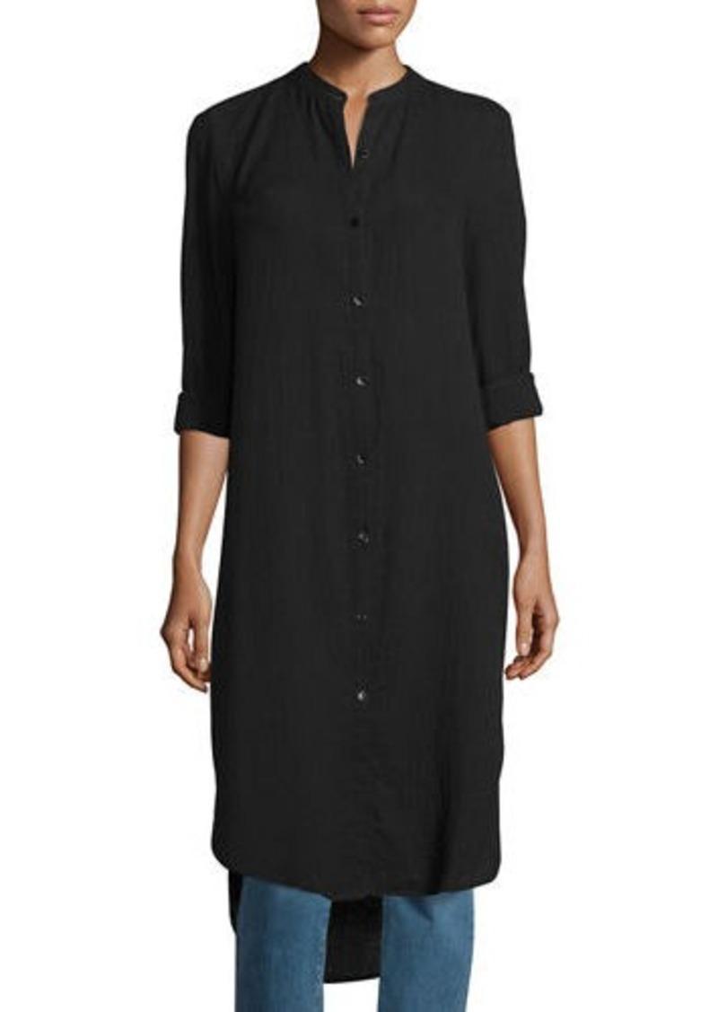 1778bf5833a Eileen Fisher Eileen Fisher Mandarin-Collar Calf-Length Shirt ...
