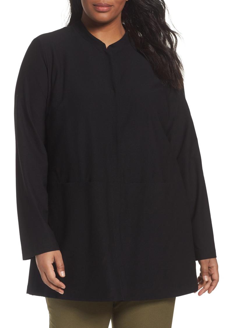 748f4c6b315f2 Mandarin Collar Blouse Plus Size