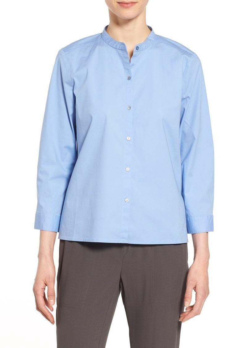 Eileen Fisher Mandarin Collar Organic Cotton Shirt (Regular & Petite)
