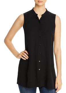 Eileen Fisher System Mandarin-Collar Silk Sleeveless Shirt