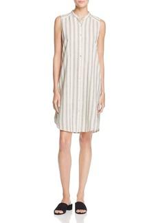 Eileen Fisher Mandarin Collar Stripe Shirt Dress