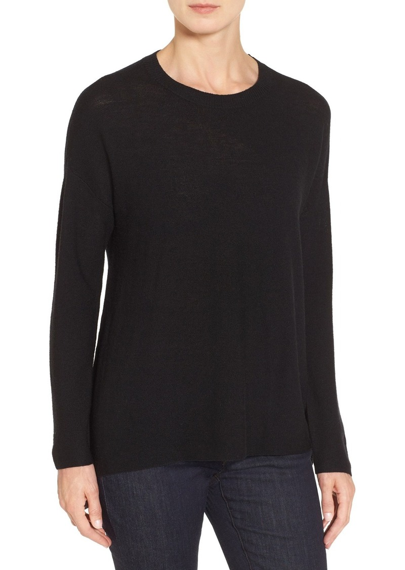 Eileen Fisher Merino Wool Ballet Neck Elliptical Hem Sweater (Regular & Petite)