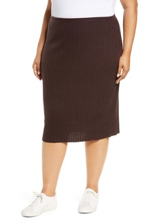 Eileen Fisher Merino Wool Ribbed Pencil Skirt (Plus Size)