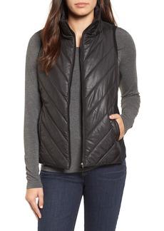 Eileen Fisher Merino Wool Trim Puffer Vest (Regular & Petite)