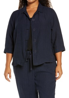 Eileen Fisher Microcheck Organic Cotton Shirt Jacket (Plus Size)