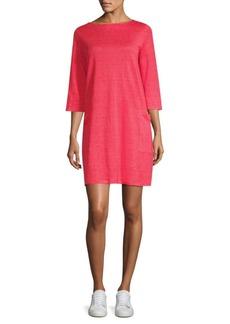 Eileen Fisher Mini Stripe Organic Linen Jersey Shirt Dress