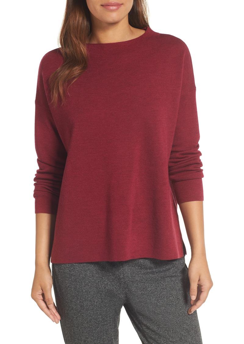 620ddb33446 Eileen Fisher Eileen Fisher Mock Neck Box Wool Sweater Now  113.98