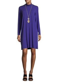 Eileen Fisher Mock-Neck Long-Sleeve Jersey Dress