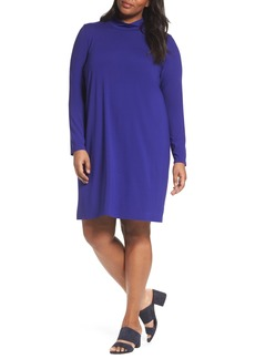 Eileen Fisher Mock Neck Shift Dress (Plus Size)