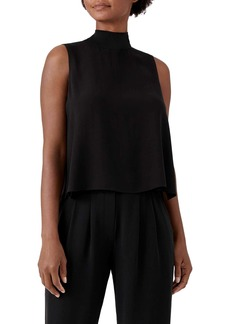Eileen Fisher Mock Neck Silk Georgette Crepe Swing Tank