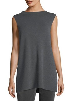 Eileen Fisher Mock-Neck Sleeveless Washable Crepe Tunic