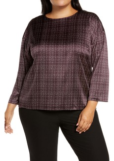 Eileen Fisher Nep Check Stretch Silk Top (Plus Size)