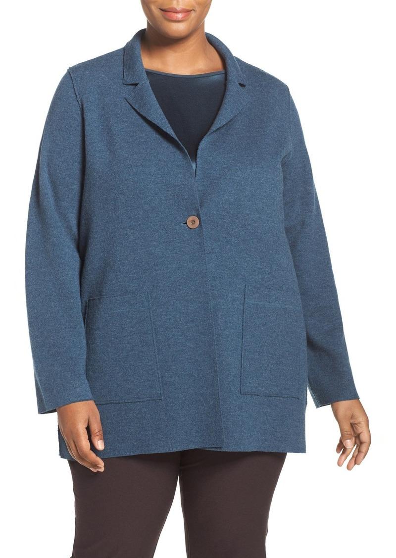 Eileen Fisher Notch Collar Felted Merino Knit Jacket (Plus Size)