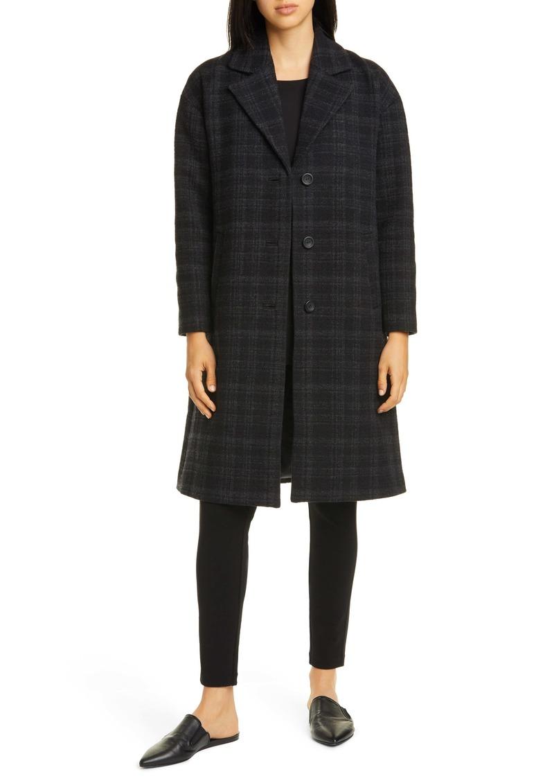 Eileen Fisher Notch Collar Plaid Organic Cotton & Wool Blend Coat