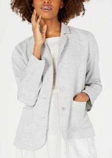 Eileen Fisher Organic Linen Notch-Collar Shaped Blazer