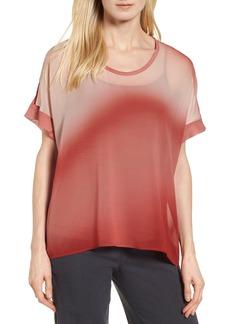 Eileen Fisher Ombré Silk Short Sleeve Top (Regular & Petite) (Nordstrom Exclusive)