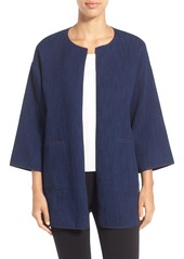 Eileen Fisher Open Front Round Neck Jacket (Regular & Petite)
