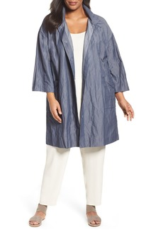 Eileen Fisher Organic Cotton Blend Crinkled Stand Collar Coat (Plus Size)