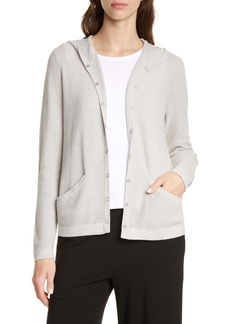 Eileen Fisher Organic Cotton Blend Hooded Cardigan