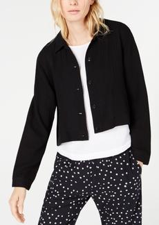 Eileen Fisher Organic Cotton Classic-Collar Cropped Jacket, Regular & Petite