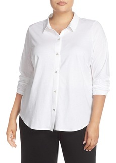 Eileen Fisher Organic Cotton Jersey Classic Collar Shirt (Plus Size)