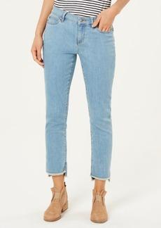 Eileen Fisher Organic Cotton Stretch Denim Raw High-Low Hem Slim-Fit Jeans, Regular & Petite