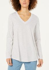 Eileen Fisher Organic Cotton Striped V-Neck Top, Regular & Petite