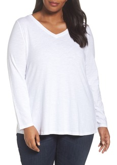 Eileen Fisher Organic Cotton V-Neck Top (Plus Size)