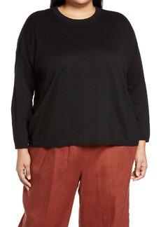 Eileen Fisher Organic Linen & Cotton Crewneck Sweater (Plus Size)