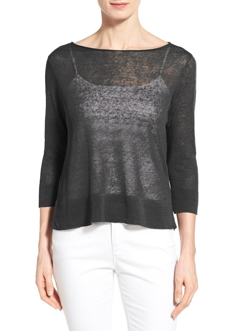 Eileen Fisher Organic Linen & Nylon Sheer Boxy Sweater (Regular & Petite)