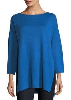Eileen Fisher Organic Linen 3/4-Sleeve Top