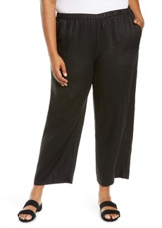 Eileen Fisher Organic Linen Ankle Straight Leg Pants (Plus Size)