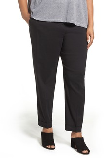 Eileen Fisher Organic Linen Blend Slim Ankle Pants (Plus Size)