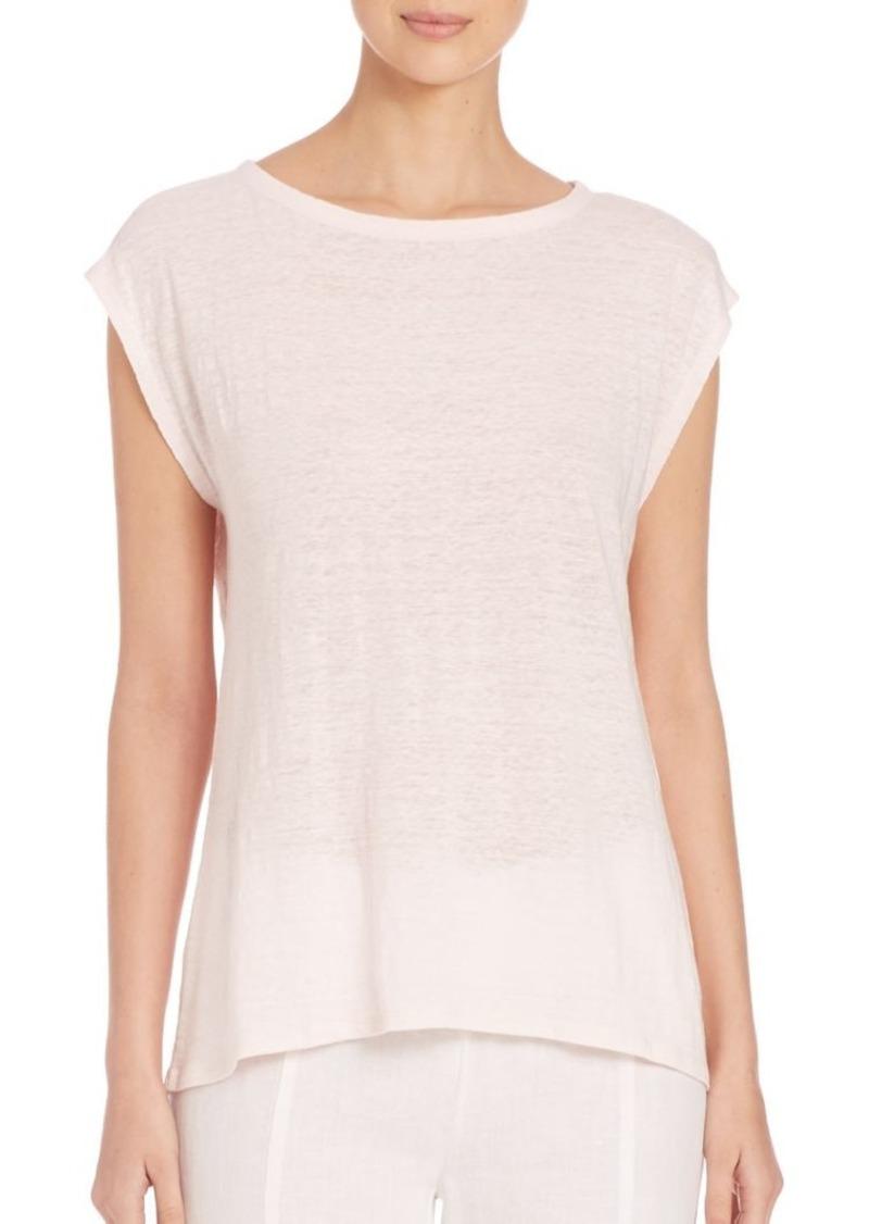 Eileen Fisher Organic Linen Cap-Sleeve Tee