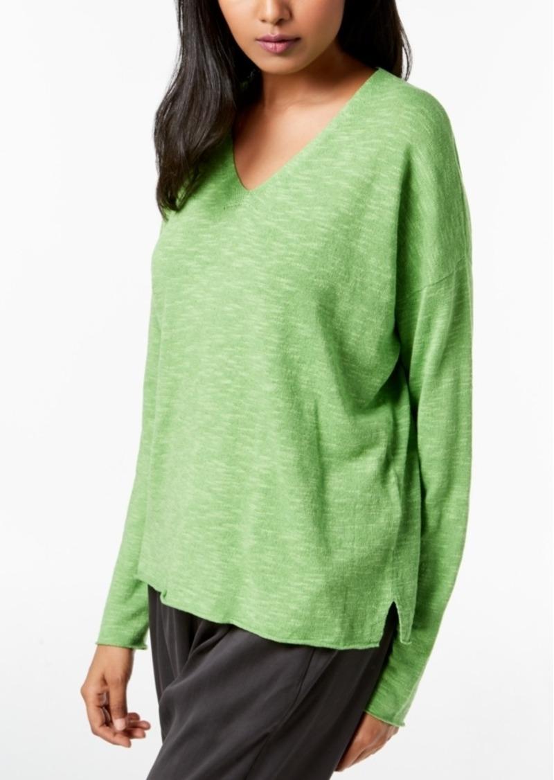 29bf9a77935 Eileen Fisher Organic Linen Cotton Vented-Hem Sweater, Regular & Petite