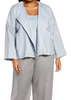 Eileen Fisher Organic Linen Drape Front Jacket (Plus Size)