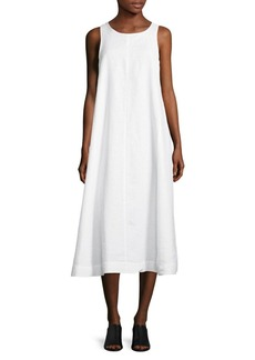 Eileen Fisher Organic Linen Midi Dress