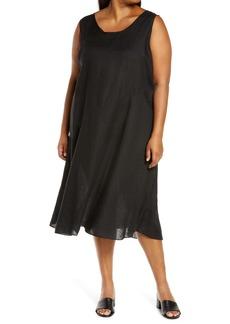 Eileen Fisher Organic Linen Midi Dress (Plus Size)