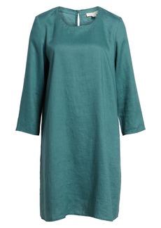 Eileen Fisher Organic Linen Round Neck Shift Dress