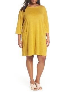 Eileen Fisher Organic Linen Shift Dress (Plus Size)