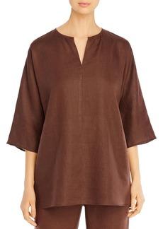 Eileen Fisher Organic Linen Split Neck Tunic